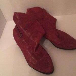 Short red leather western boots